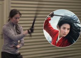 """Vídeo dos bastidores de """"Mulan"""" mostra Liu Yifei treinando golpes com espada"""