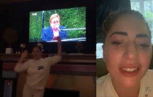 """Lady Gaga dança durante show de Elton John e se emociona com Taylor Swift no """"Together At Home"""""""