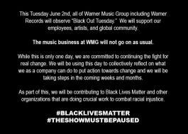 """Gravadoras mostram apoio ao """"Black Lives Matter"""" e anunciam um dia de paralisação"""