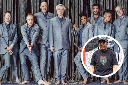 David Byrne e elenco em cartaz do filme (Divulgação)/Spike Lee em foto postada no Instagram (Reprodução)