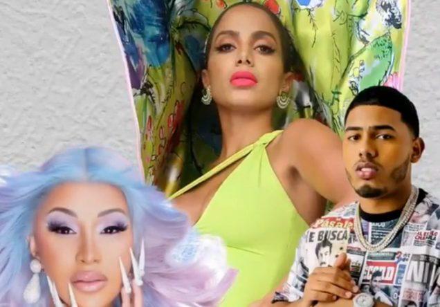 Anitta, Cardi B e o rapper Myke Towers em montagem (Reprodução)
