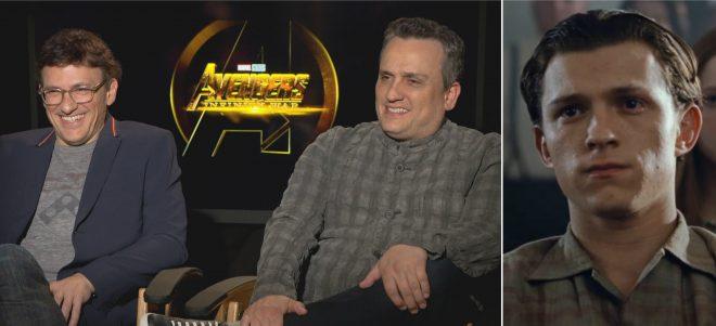 """Irmãos Russo em entrevista (Reprodução) e Tom Holland em """"O Diabo de Cada Dia"""" (Reprodução)"""