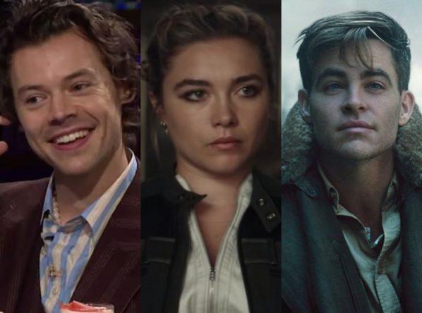 """Harry Styles no """"The Late Late Show"""", Florence Pugh em """"Viúva Negra"""" e Chris Pine em """"Mulher-Maravilha"""" (Reprodução)"""