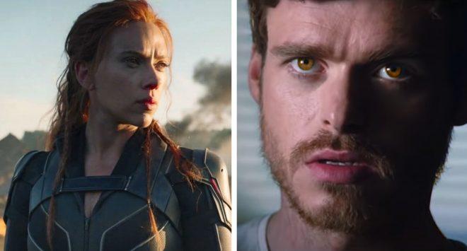 """Scarlett Johansson em trailer de """"Viúva Negra"""" e Richard Madden em trailer de """"Os Eternos"""" (Reprodução)"""