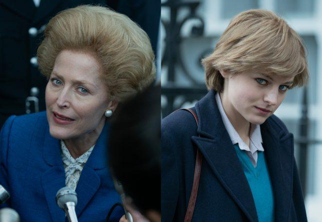 """Gillian Anderson e Emma Corrin em fotos de """"The Crown"""" (Divulgação)"""