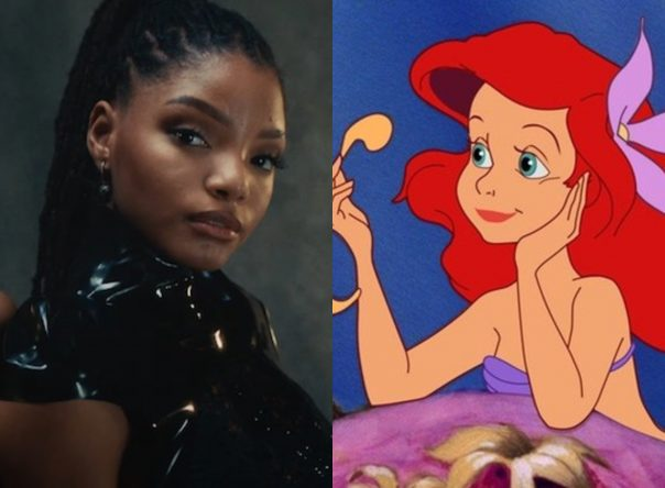 "Halle Bailey no clipe de ""Forgive Me"" e cena do filme ""A Pequena Sereia"""