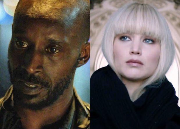 """Rob Morgan no filme """"Demolidor"""" e Jennifer Lawrence em """"Operação Red Sparrow"""" (Reprodução)"""