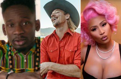 """Mr. Eazi no clipe de """"Money"""", Diplo em foto publicada no Instagram e Nicki Minaj no clipe de """"Nice to Meet Ya"""" (Reprodução)"""