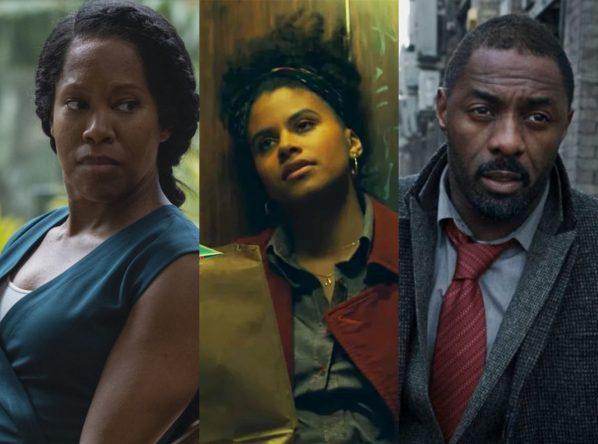 """Regina King em """"Watchmen"""", Zazie Beetz em """"Coringa"""" e Idris Elba em """"Luther"""" (Reprodução)"""