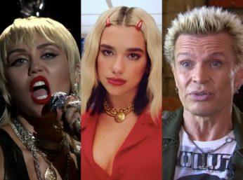 """Miley no VMA 2020, Dua Lipa no clipe de """"Break My Hear"""" e Billy Idol em entrevista à NeuH Magazine (Reprodução)"""
