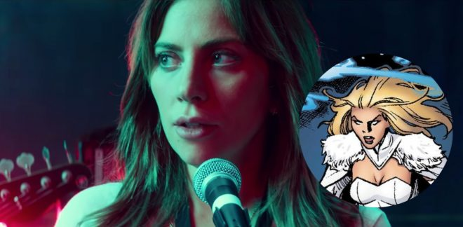 """Lady Gaga em """"Nasce Uma Estrela"""" e personagem Emma Frost em quadrinho (Reprodução)"""