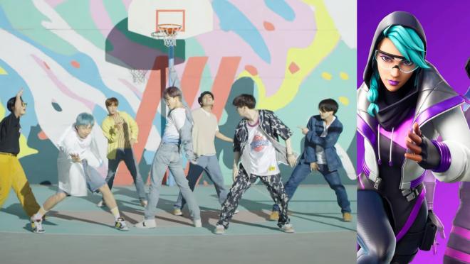 BTS em vídeo do Fortnite (Reprodução)/Pôster do jogo (Divulgação)