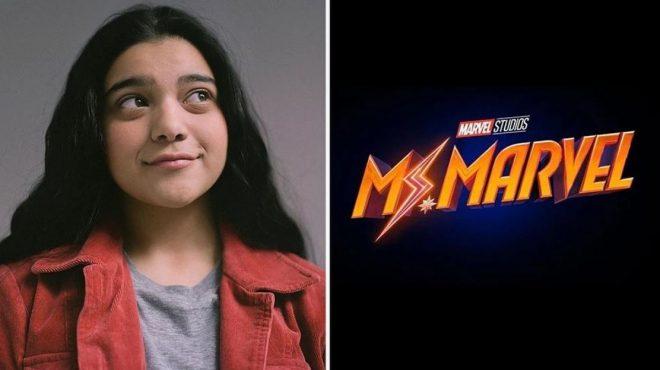 """Iman Vellani ao lado do logo de """"Ms. Marvel"""" em foto postada no Instagram (Reprodução)"""
