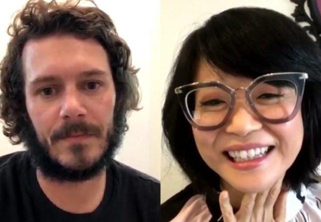 Adam Brody e Keiko Agena durante live feita no Instagram (Reprodução)
