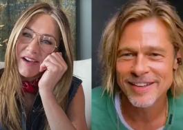 """Vídeo: Jennifer Aniston e Brad Pitt """"flertam"""" em leitura do roteiro de """"Picardias Estudantis"""""""