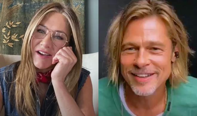 Jennifer Aniston e Brad Pitt em evento virtual (Reprodução)