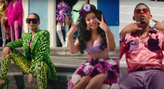 """Anitta, Cardi B e Myke Towers no clipe de """"Me Gusta"""" (Reprodução)"""