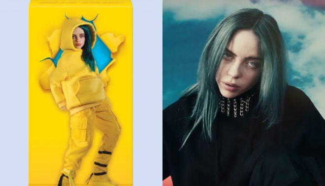 """Boneca de Billie Eilish e Billie no clipe de """"Bad Guy"""" (Divulgação/Reprodução)"""