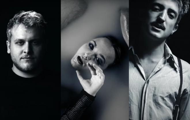 """Bruno Martini, Mayra e Johnny Franco no clipe de """"Skin"""" (Reprodução)"""