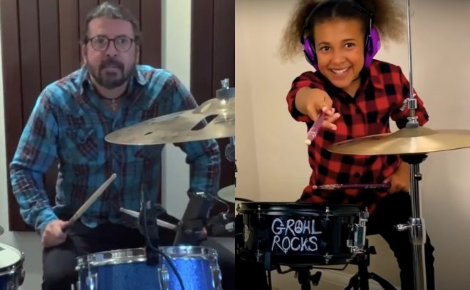 Dave Grohl e Nandi Bushell em vídeo do Youtube (Reprodução)