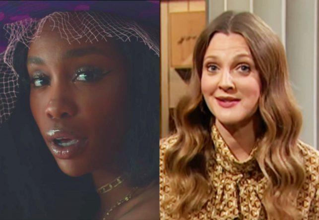 """SZA no clipe de """"Drew Barrymore"""" e Drew Barrymore apresentando o próprio talk show (Reprodução)"""
