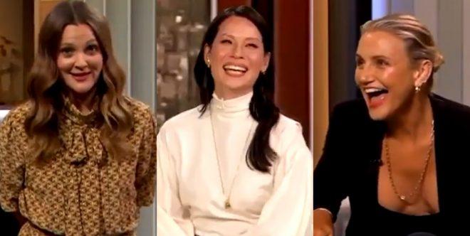 Drew Barrymore, Lucy Liu e Cameron Diaz em talk show (Reprodução)