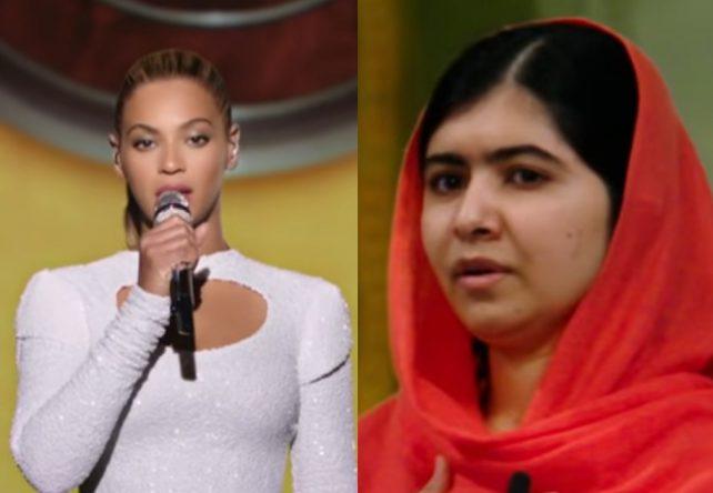 Beyoncé em perfomance na ONU e Malala Yousafzai em trailer de seu filme (Reprodução)