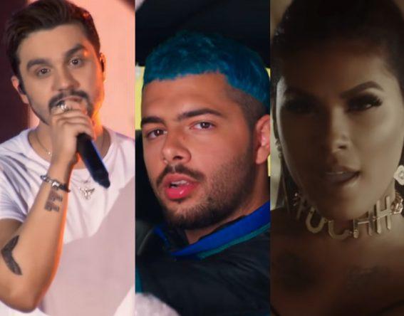 """Luan Santana em clipe de """"a"""", Pedro Sampaio em clipe de """"Pode Dançar"""" e Pocah em clipe de """"Pode Chorar"""" (Reprodução)"""