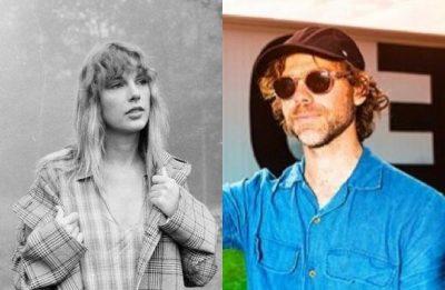 """Taylor Swift em foto promocional de """"folklore"""" (Divulgação) e Aaron Dessner em foto postada no Instagram (Reprodução)"""