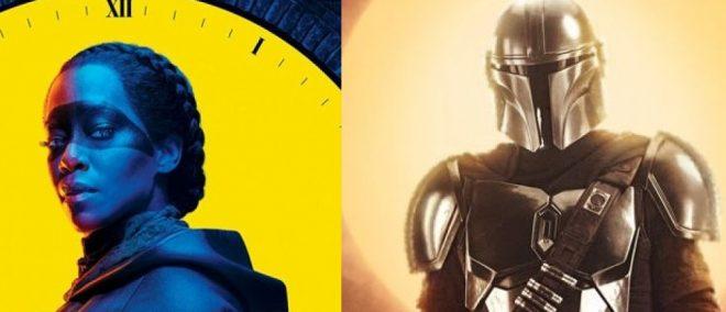 """Cartazes de """"Watchmen"""" e """"The Mandalorian"""" (Divulgação)"""