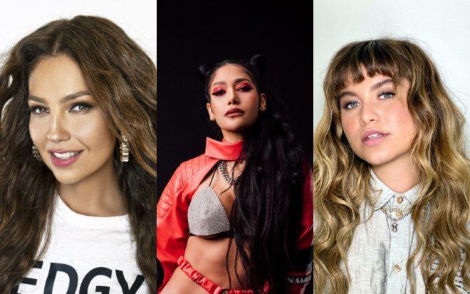 Thalía (Divulgação/Uriel Santana), Farina (Divulgação/Sony Music Latin) e Sofía Reyes (Divulgação/Mith Media)