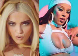 """Bebe Rexha e Doja Cat são vistas em filmagem de clipe para novo single """"Baby, I'm Jealous"""""""
