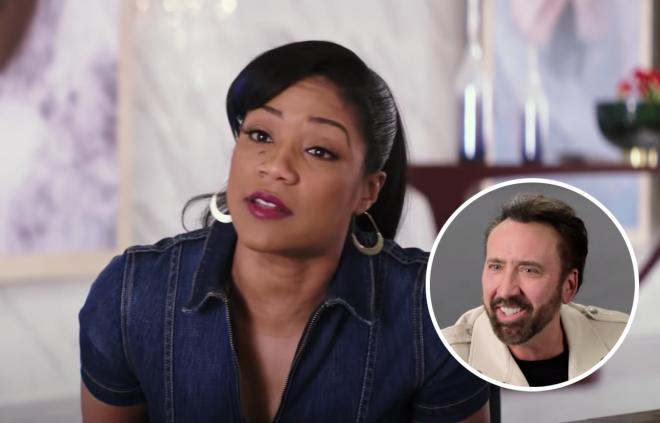 """Tiffany Haddish no trailer de """"Like a Boss"""" (Reprodução)/Nicolas Cage em entrevista (Reprodução)"""