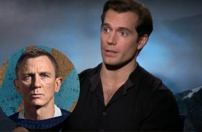 Henry Cavill entrevista e Daniel Craig em pôster (Reprodução/Youtube/Divulgação)