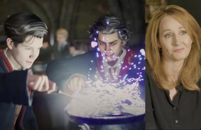 """Cena do trailer de """"Hogwarts Legacy (Reprodução)/J.K. Rowling em entrevista (Reprodução)"""