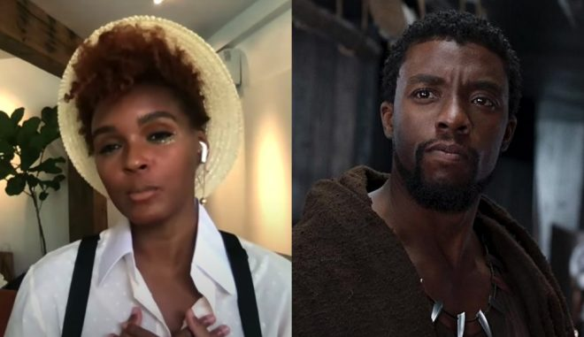 """Janelle Monáe em entrevista (Reprodução)/Chadwick Boseman em """"Pantera Negra"""" (Divulgação)"""