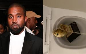 Kanye West faz xixi em troféu do Grammy em protesto contra a indústria musical
