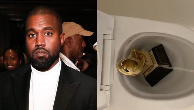 Kanye West em festa (Getty Images)/Kanye fazendo xixi em Grammy (Reprodução)