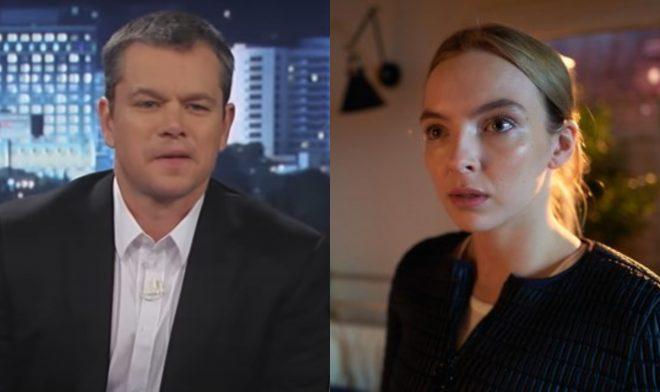 """Matt Damon no programa do Jimmy Kimmel e Jodie Comer em """"Killing Eve""""(Reprodução)"""