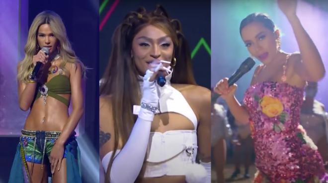 Bruna Marquezine, Pabllo Vittar e Anitta no MIAW 2020 (Reprodução)