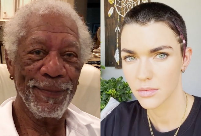 Morgan Freeman em vídeo no Instagram (Reprodução)/Ruby Rose em vídeo no Instagram (Reprodução)