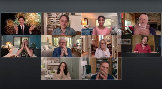 Cena da reunião virtual do elenco (Reprodução)