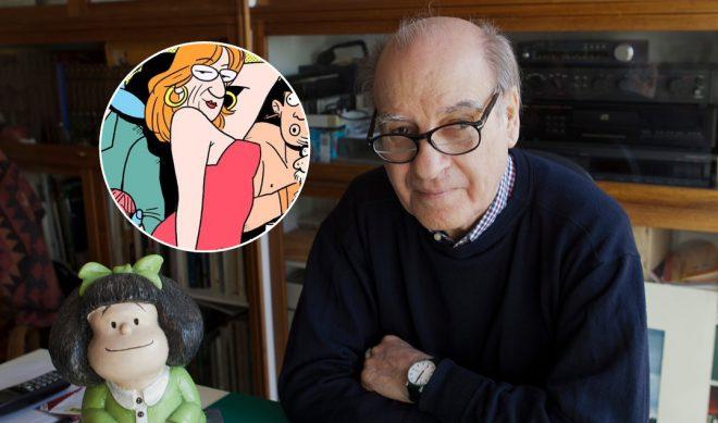O cartunista quino (dir.) e uma ilustração de Laerte Coutinho (esq.)