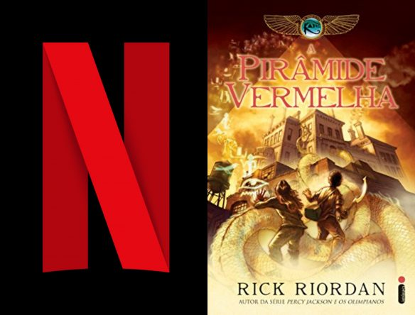 """Logo da Netflix ao lado da capa do 1º livro da trilogia """"As Crônicas dos Kane"""" (Divulgação/Reprodução)"""