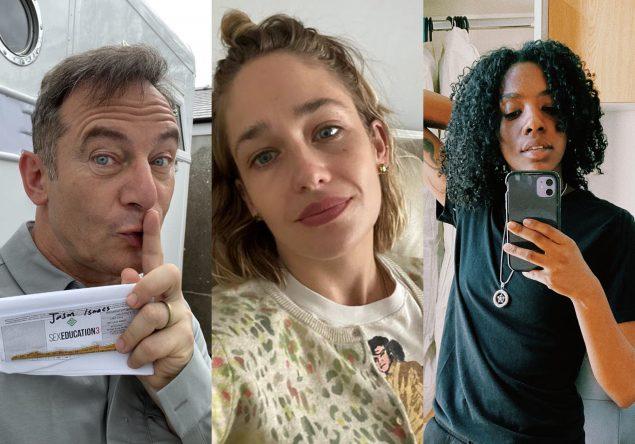Jason Isaacs, Jemima Kirke e Dua Saleh em fotos publicadas no Instagram (Reprodução)