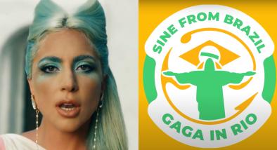 """Cena do clipe """"911""""(Reprodução)/Logo de campanha Gaga in Rio (Divulgação)"""