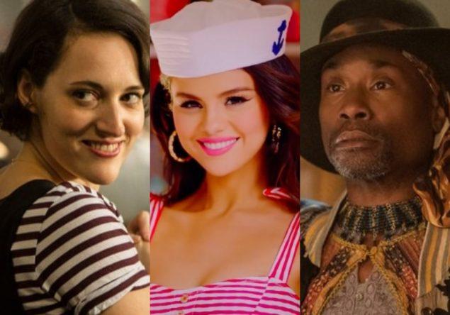 """Phoebe Waller-Bridge em """"Fleabag"""", Selena Gomez no clipe de """"Ice Cream"""" e Billy Porter na série """"The Twilight Zone"""" (Reprodução)"""