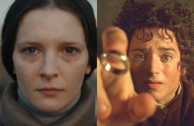 """Morfydd Clark em """"Saint Maud"""" e foto promocional de """"O Senhor dos Anéis"""" (Reprodução/Divulgação))"""
