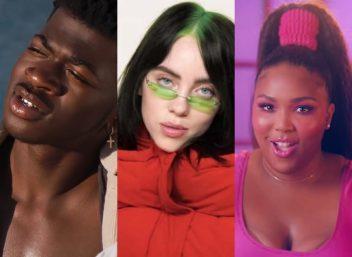 """Lil Nas X em vídeo da Fenty Skin, Billie Eilish em vídeo da ELLE e Lizzo no clipe de """"Juice"""" (Reprodução)"""