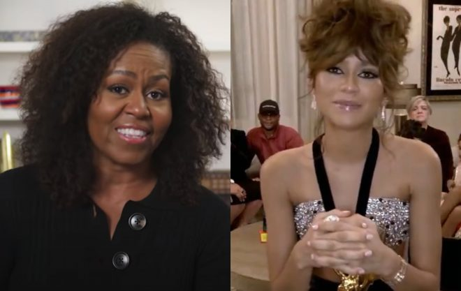 Michelle Obama e Zendaya (Reprodução/Youtube)